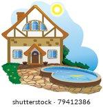 Как нарисовать красивый дом с бассейном