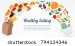 healthy lifestyle concept.... | Shutterstock .eps vector #794124346