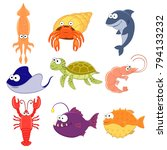 big vector set of sea creatures.... | Shutterstock .eps vector #794133232