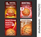 basketball poster set vector.... | Shutterstock .eps vector #794134252