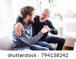 hipster son with his senior... | Shutterstock . vector #794138242
