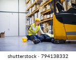 warehouse workers after an... | Shutterstock . vector #794138332