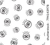eye seamless pattern background.... | Shutterstock .eps vector #794143978