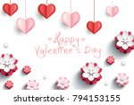 valentines card with decorative ... | Shutterstock .eps vector #794153155