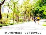 blur park with bokeh light... | Shutterstock . vector #794159572