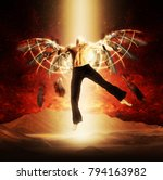 a man with wings on a...   Shutterstock . vector #794163982