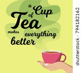 beautiful card with the cup of... | Shutterstock .eps vector #794182162
