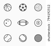 set of sports balls monochrome... | Shutterstock .eps vector #794192512