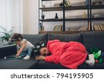 young mother old is... | Shutterstock . vector #794195905