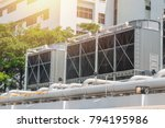 hvac air chillers on rooftop... | Shutterstock . vector #794195986
