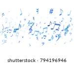 blue flying musical notes... | Shutterstock .eps vector #794196946