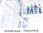 Small photo of Success achieved. Architects and Engineers Team or construction workers standing or working in construction site. Business Partner Trust in Team Start up project Contractor after meeting a good deal.