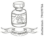 pet drugs  vitamins. outline... | Shutterstock .eps vector #794199766