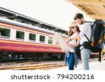 multiethnic traveler couple ...   Shutterstock . vector #794200216