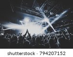 silhouettes of concert crowd in ... | Shutterstock . vector #794207152
