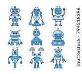 vector set of modern robot...   Shutterstock .eps vector #794218396