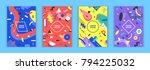 set of memphis style bright... | Shutterstock .eps vector #794225032