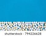 white medical pills on blue... | Shutterstock . vector #794226628