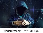 an anonymous hacker without a...   Shutterstock . vector #794231356