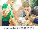 happy children boys with a toy... | Shutterstock . vector #794231812