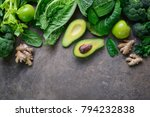 green fruits and leafy... | Shutterstock . vector #794232838