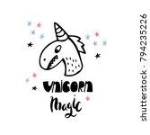 funny unusual unicorn vector... | Shutterstock .eps vector #794235226