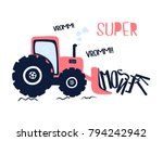 hand drawing digger... | Shutterstock .eps vector #794242942