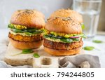 healthy baked sweet potato... | Shutterstock . vector #794244805