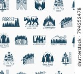camping seamless pattern ... | Shutterstock .eps vector #794253478