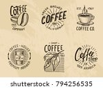 set of coffee logos. modern... | Shutterstock .eps vector #794256535