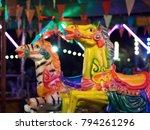 Closeup Shot At Horse And Zebr...