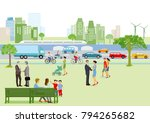 city view with pedestrians and... | Shutterstock . vector #794265682