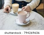 cafe cacao and girl hands | Shutterstock . vector #794269636