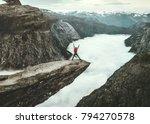 Man Jumping Trolltunga Rocky Cliff - Fine Art prints