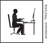 a man is sitting at a computer... | Shutterstock .eps vector #794271526