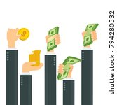 hand cash concept. hand holds... | Shutterstock .eps vector #794280532