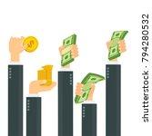 hand cash concept. hand holds... | Shutterstock .eps vector #794280532