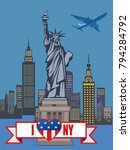 ny tourism. statue of liberty.... | Shutterstock . vector #794284792