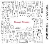big set of house repair tools... | Shutterstock .eps vector #794290858
