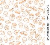set of vector cartoon doodle... | Shutterstock .eps vector #794295148