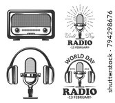 world radio day set of vector... | Shutterstock .eps vector #794298676