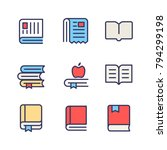 book and newspaper color icon...