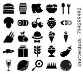 Food Icons. Set Of 25 Editable...