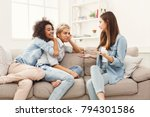 happy female friends chatting... | Shutterstock . vector #794301586