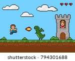 game background in pixel style. | Shutterstock .eps vector #794301688