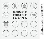 set of 14 banner outline icons...   Shutterstock .eps vector #794305912