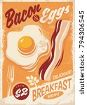 bacon and eggs breakfast menu... | Shutterstock .eps vector #794306545