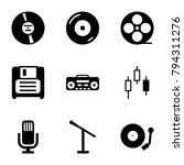 record icons. set of 9 editable ... | Shutterstock .eps vector #794311276