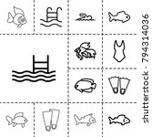swimming icons. set of 13... | Shutterstock .eps vector #794314036