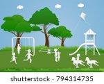children having fun playing at... | Shutterstock .eps vector #794314735